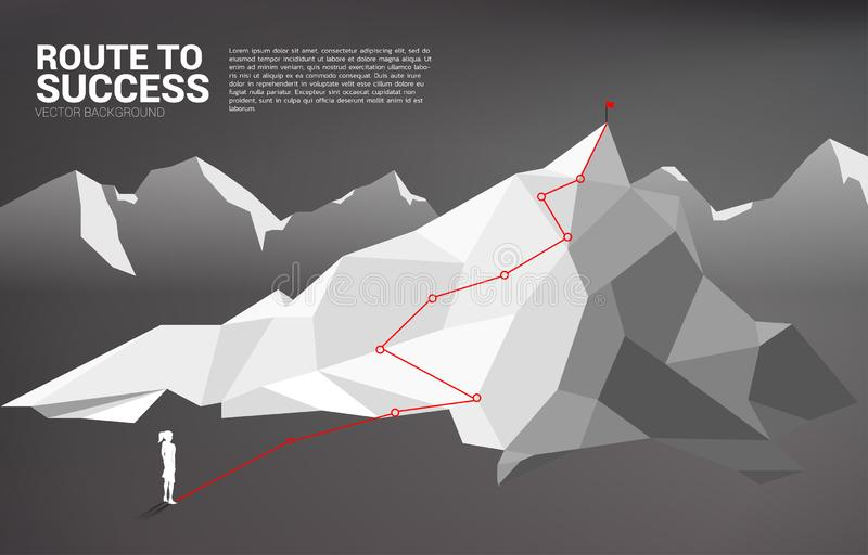 Route to the top of mountain: Concept of Goal, Mission, Vision, Career path stock illustration