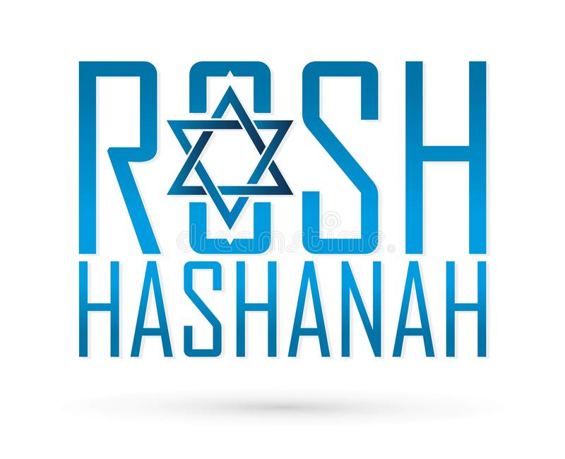 Rosh Hashanah text design, Rosh Hashanah is a Hebrew word meaning the Jewish New Year festival graphic. Vector stock illustration