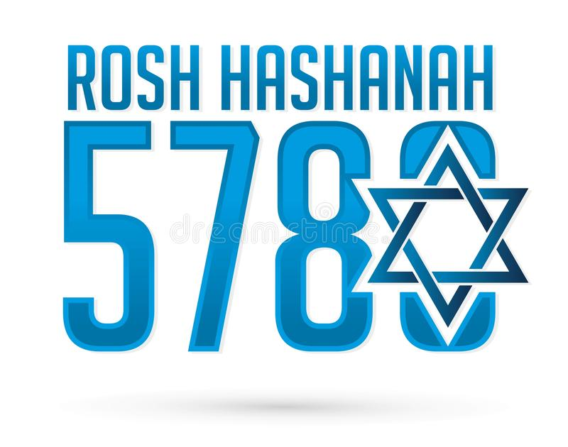 5780 Rosh Hashanah text design, Rosh Hashanah is a Hebrew word meaning the Jewish New Year festival graphic. Vector stock illustration