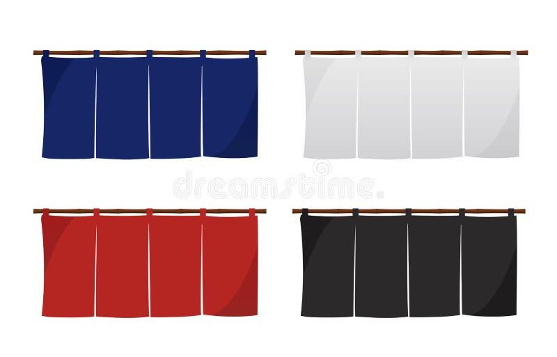 Japanese store curtain illustration set. Japanese store curtain vector illustration set stock illustration
