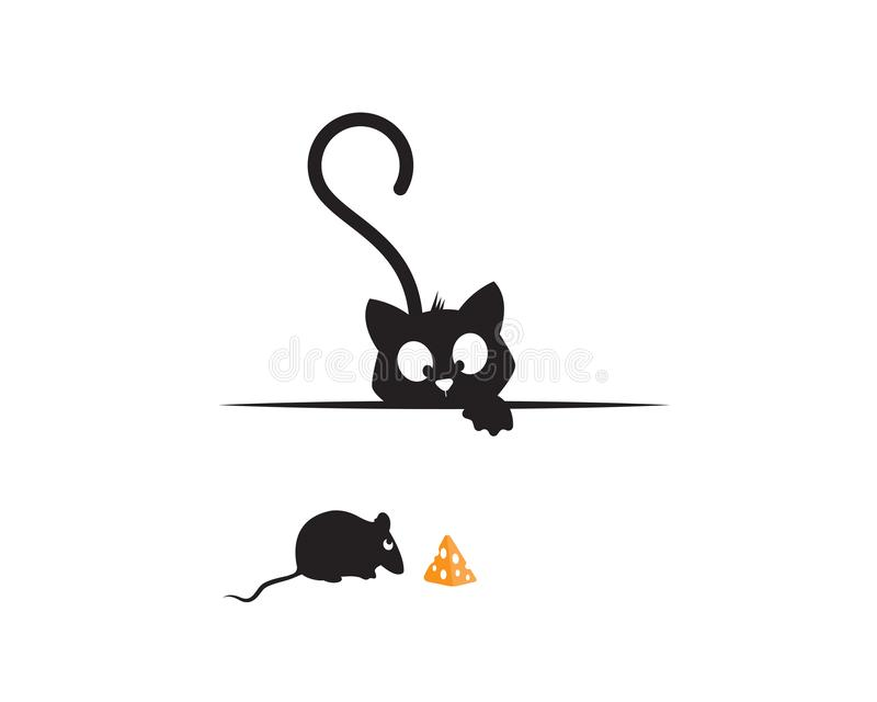 Cat behind wall and mice eating piece of cheese, funny illustration, vector, cartoon, children wall decals, kids wall artwork stock illustration