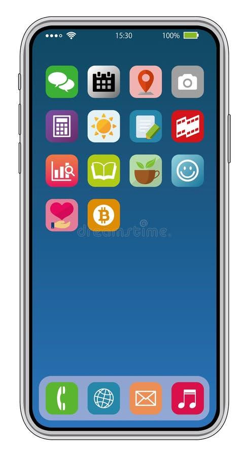 Common smartphone display illustration  / application icon set vector illustration