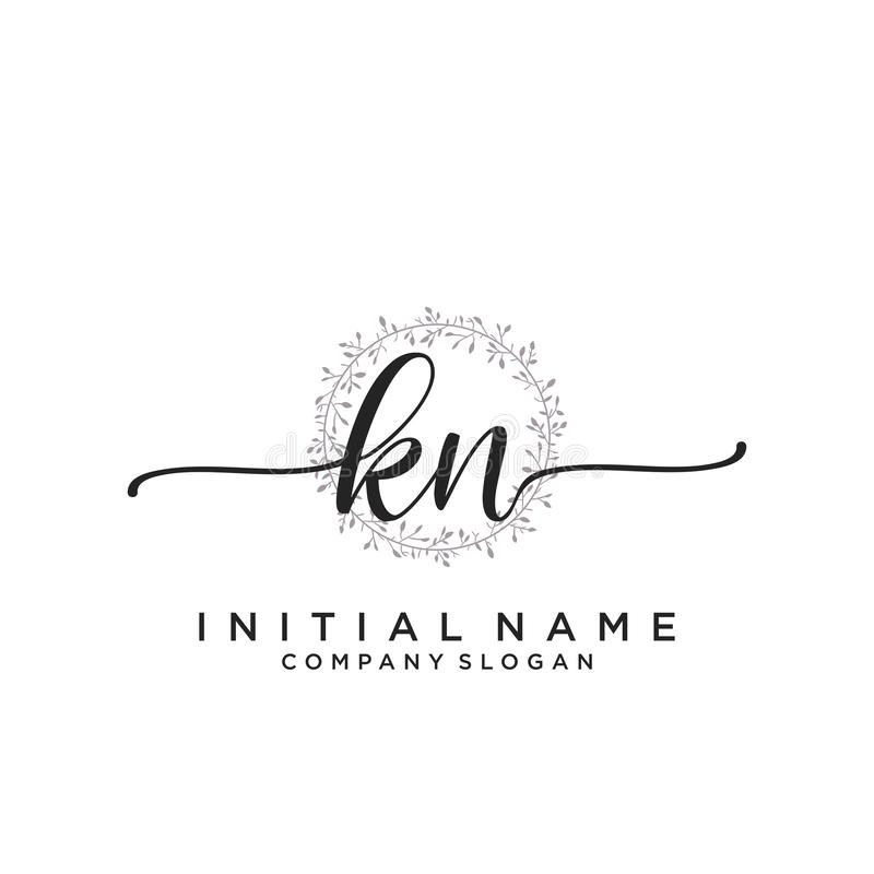 KN Initial Letter Handwriting And Signature Logo . A