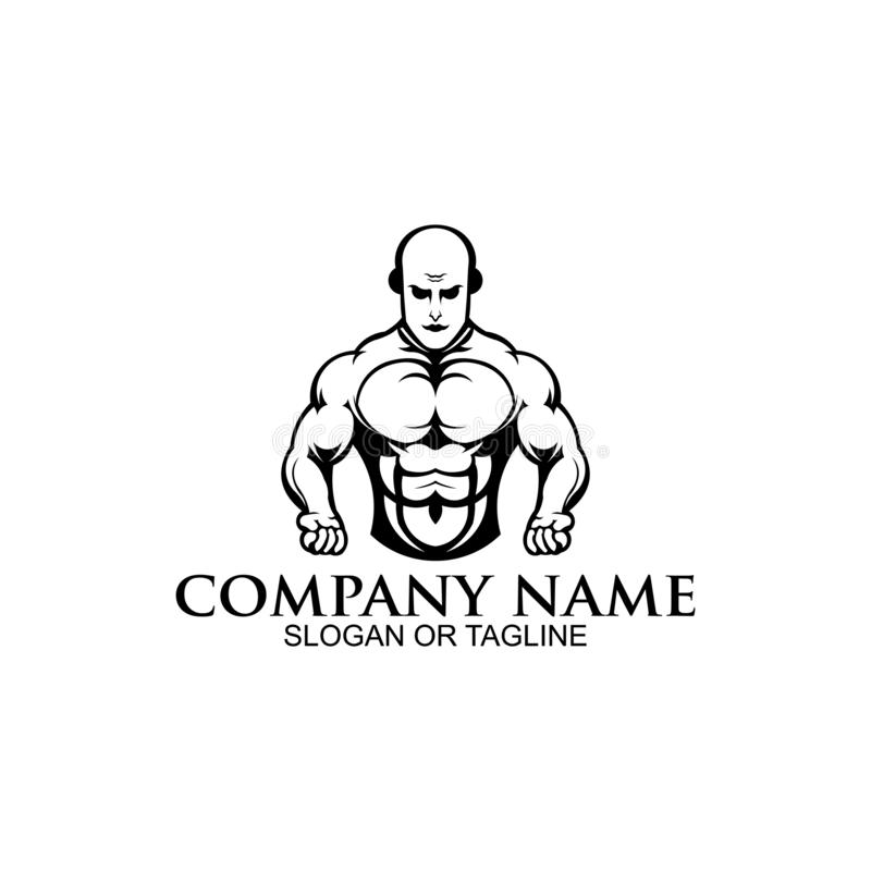 Physical Fitness, Sport Gym Logo,Bodybuilder. With big muscles posing, isolated vector silhouette, Front view vector illustration