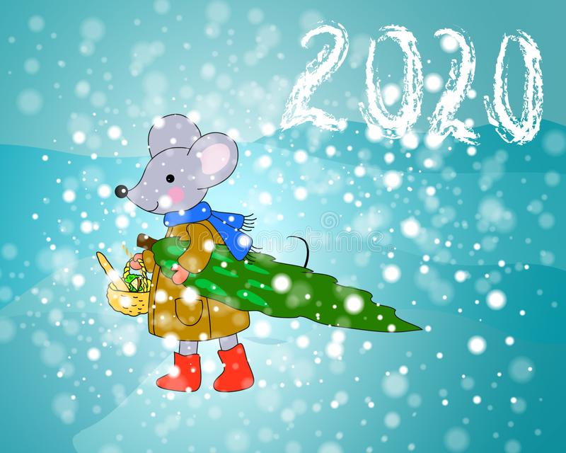 Print funny mouse with christmas tree 2020 stock image