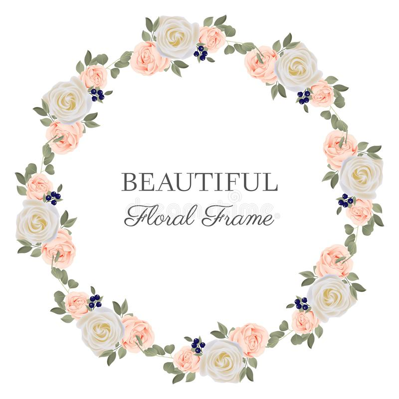 Flower circle frame with pastel rose bouquet. Flower circle border round wreath with pastel rose bouquet and berry royalty free illustration
