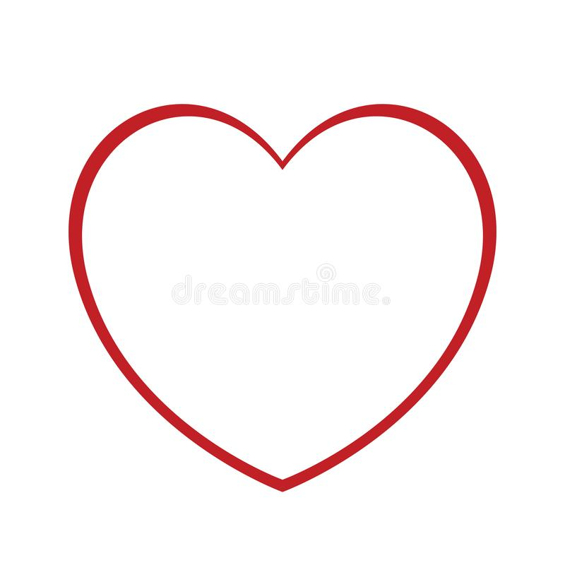 Heart icon, line vector. Outline love symbol. Abstract heart shape outline. Vector illustration. Red heart icon in flat style. The heart as a symbol of love stock illustration