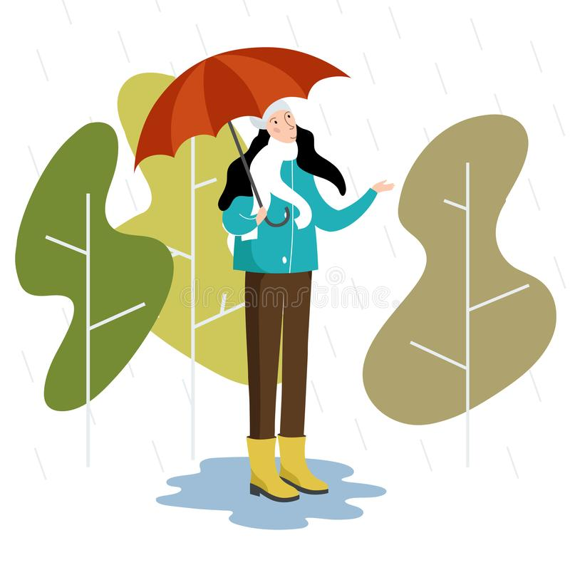 Vector flat style illustration - autumn girl with umbrella stands in the rain. stock image