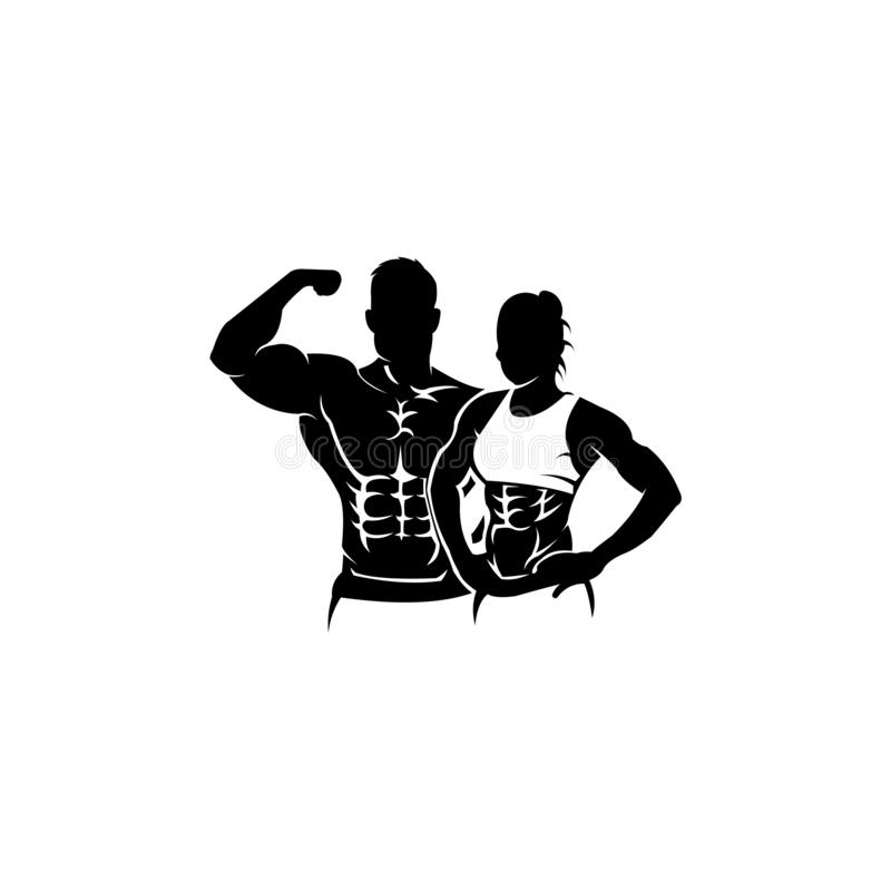 Physical Fitness, Sport Gym Logo,Bodybuilder with big muscles posing,. Isolated vector silhouette, Front view vector illustration
