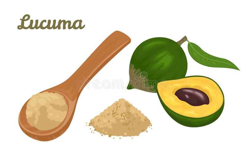 Lucuma fruit powder in wooden spoon isolated on white background. Tropical fruit with green leaves and heap of powder. royalty free illustration