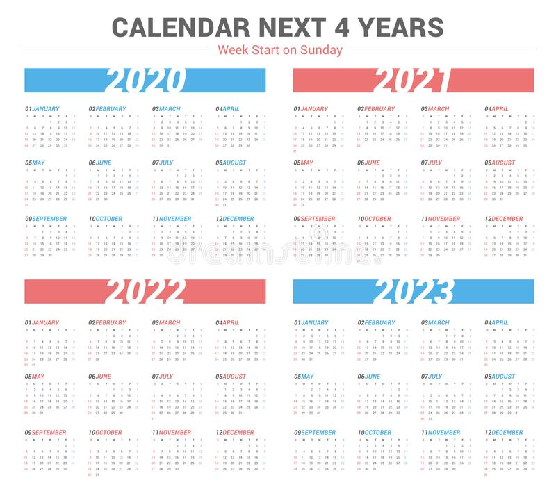 Simple calendar for 4 years 2020 2021 2022 2023. Week start on Sunday. vector illustration