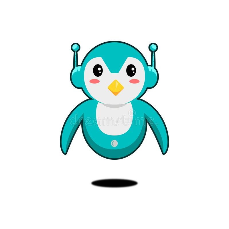 Cute robot pinguin mascot on white background stock illustration
