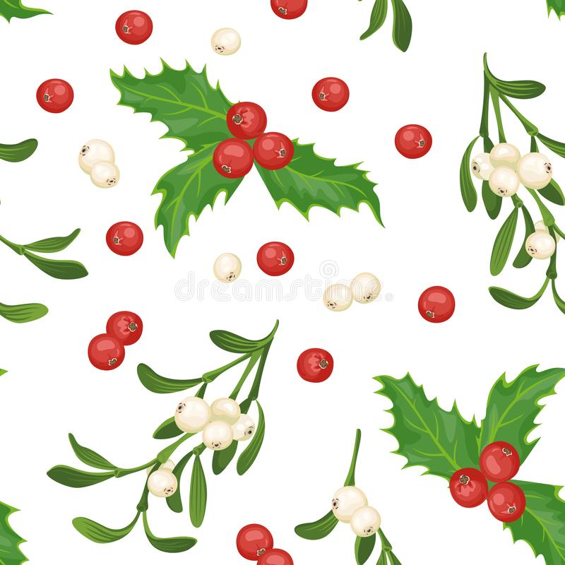 Christmas seamless pattern. Red holly berries, green leaves and Mistletoe branches isolated on white background. New Year`s decora vector illustration