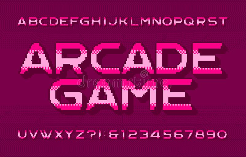 Arcade Game alphabet font. 3D pixel letters, numbers and symbols. Pixelated background. royalty free illustration