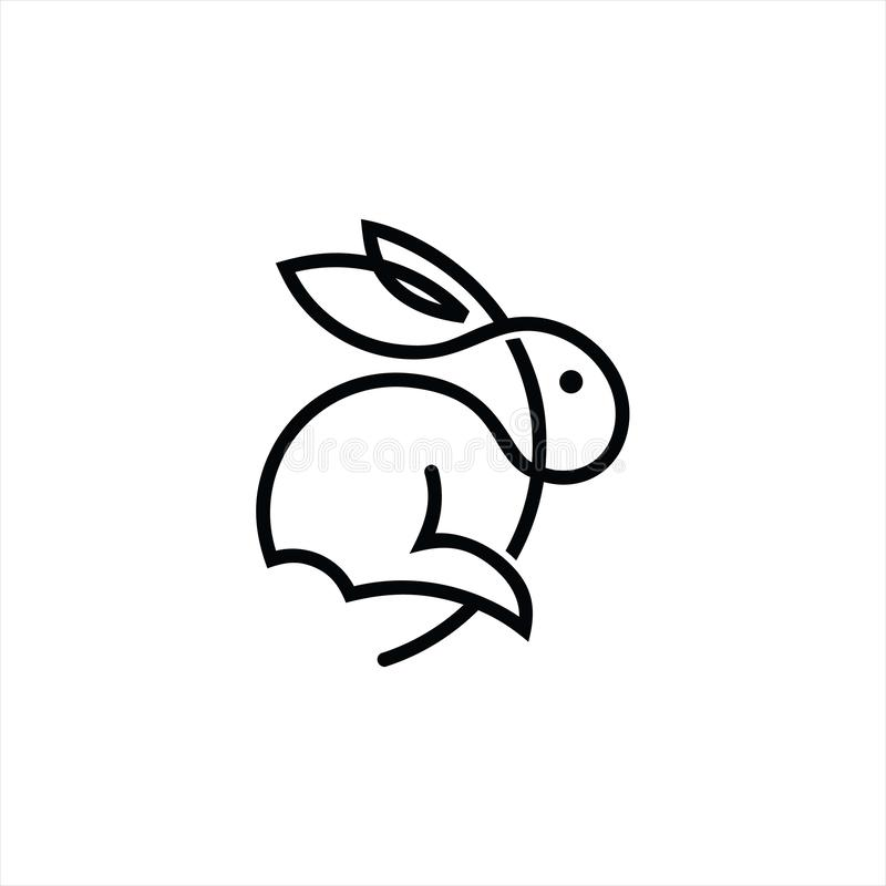 Simple modern mono line rabbit jump vector illustration