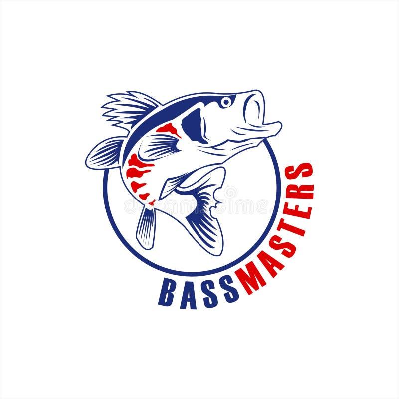Simple round bass fishing illustration. Simple round emblem bass fishing illustration for logo or icon design vector idea vector illustration