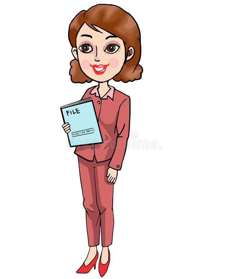 Woman With Documents Rising Graph Stock Illustration