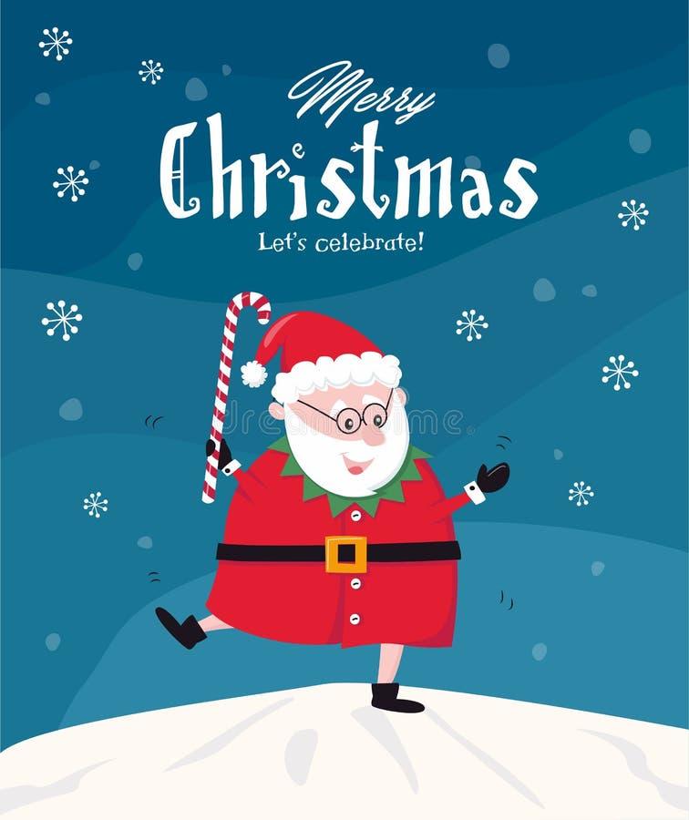 Dancing funny Santa  / Merry Christmas greeting card stock illustration