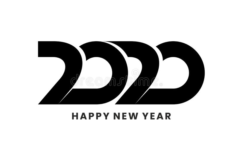 2020 logo design with Happy New Year text. Isolated on white background. royalty free illustration