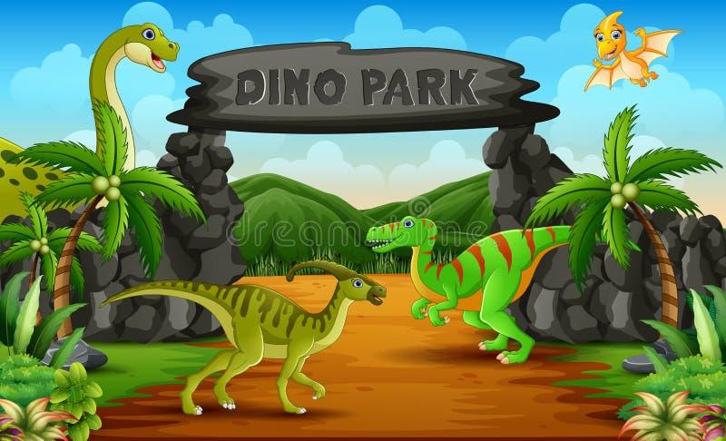 Dinosaurs in a dino park entrance illustration. Cartoon Dinosaurs in a dino park entrance illustration vector illustration