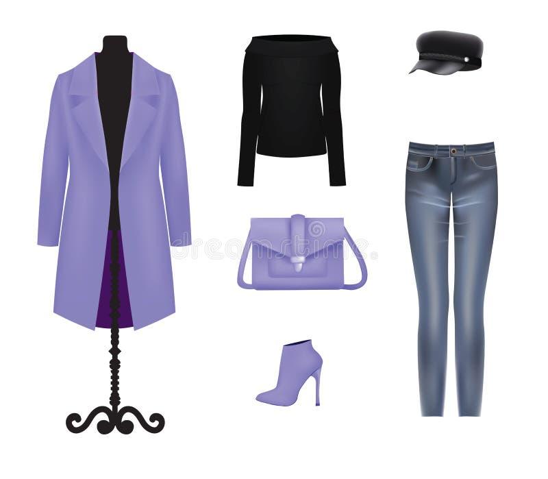 Woman purple and black clothing set vector illustration