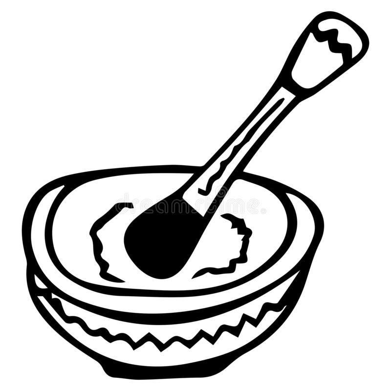 Black-white hand-drawn isolated mortar with pestle for herbs. vector illustration