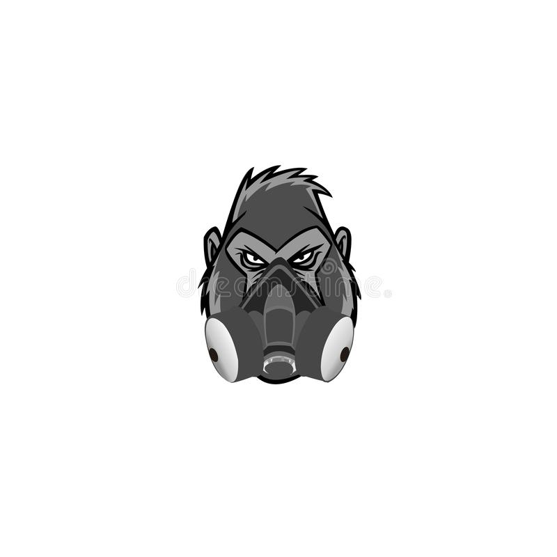 Gorilla mascot logo with a gas mask, Logo for buttons, websites, mobile apps and other design needs. Vector image of contour label vector illustration