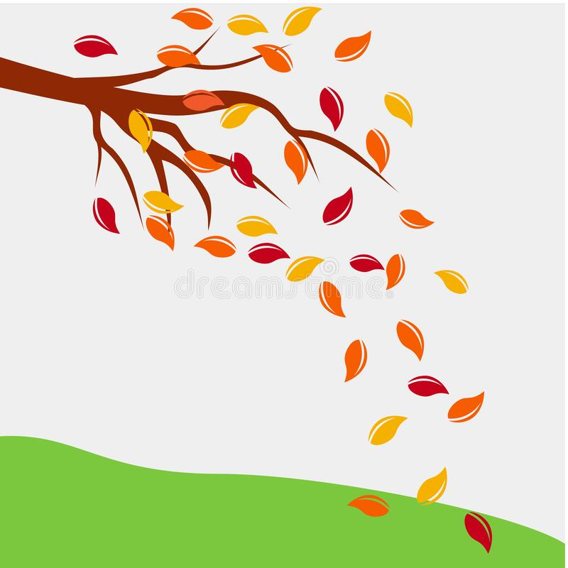 Autumn leaf fall tree concept environmental design vector illustration, branch with autumn leaves on white background stock illustration