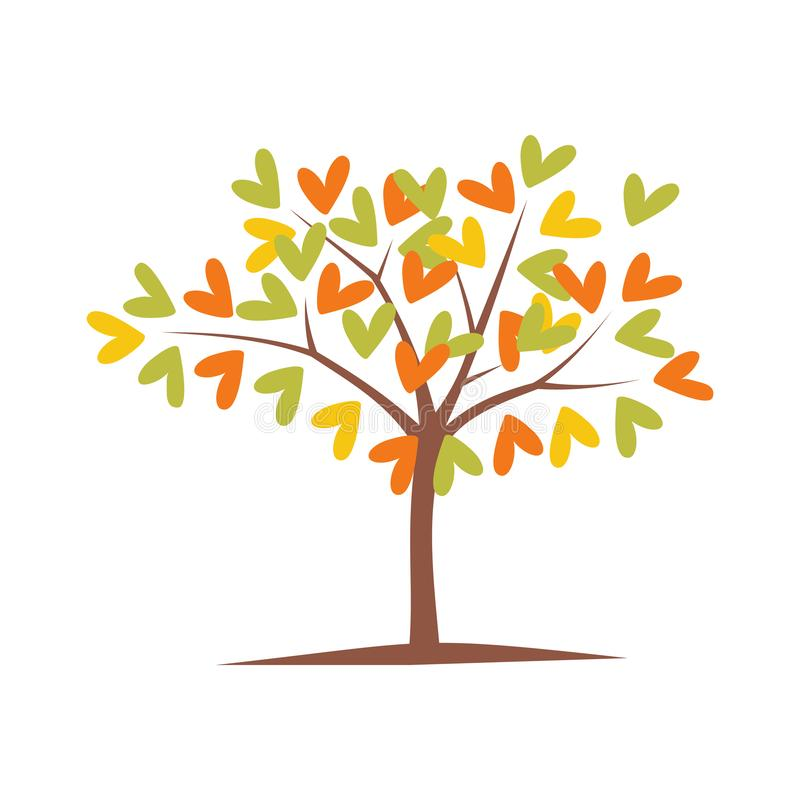 Tree love leaves art design vector illustration season, vector autumn background with tree love leaves vector royalty free illustration
