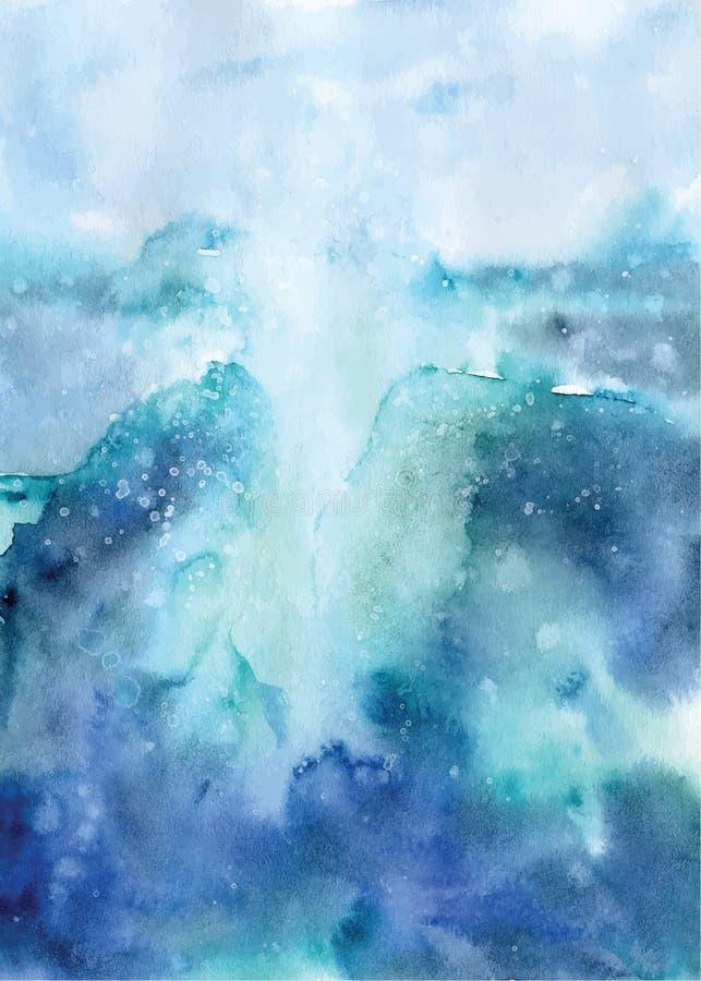 Watercolor abstract ocean illustration, blue sea landscape royalty free illustration