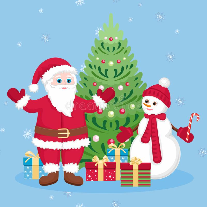 Funny Santa Claus, cute snowman and gift boxes with bows under  Christmas tree on blue background with white snowflakes. New Year vector illustration