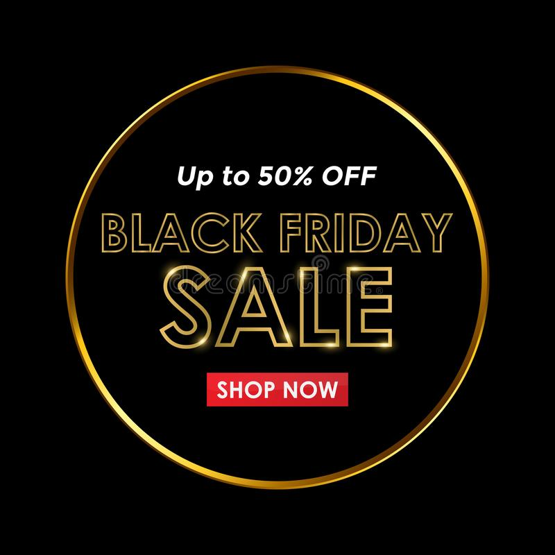 Elegant Black Friday Sale with Gold Text and Black Background royalty free illustration