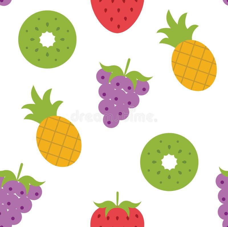 Fruits fresh wallpaper art cute funny colorful vector illustration concept, grape, kiwi, strawberry vector design royalty free illustration