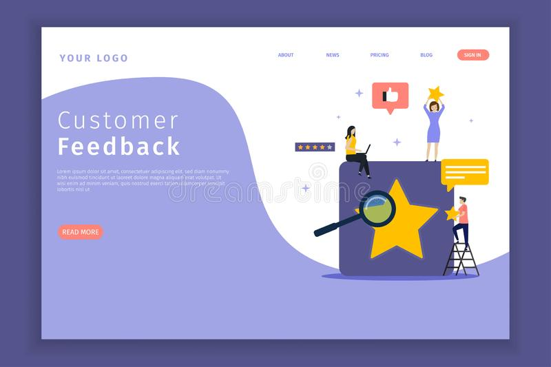 Customer feedback landing page for the site. This design can be used for websites, landing pages, mobile applications, posters, banners vector illustration