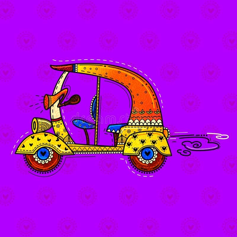 Vector design of desi indian art style auto rickshaw. Incredible india vector illustration