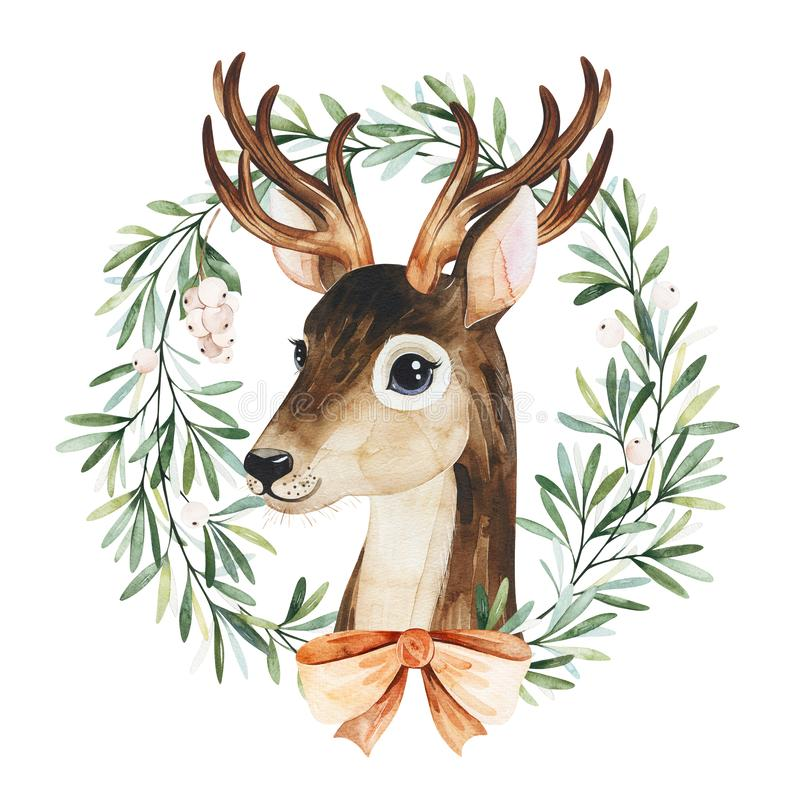 Winter composition with leaves,branches,snowberries,mistletoe and cute deer. royalty free stock photo