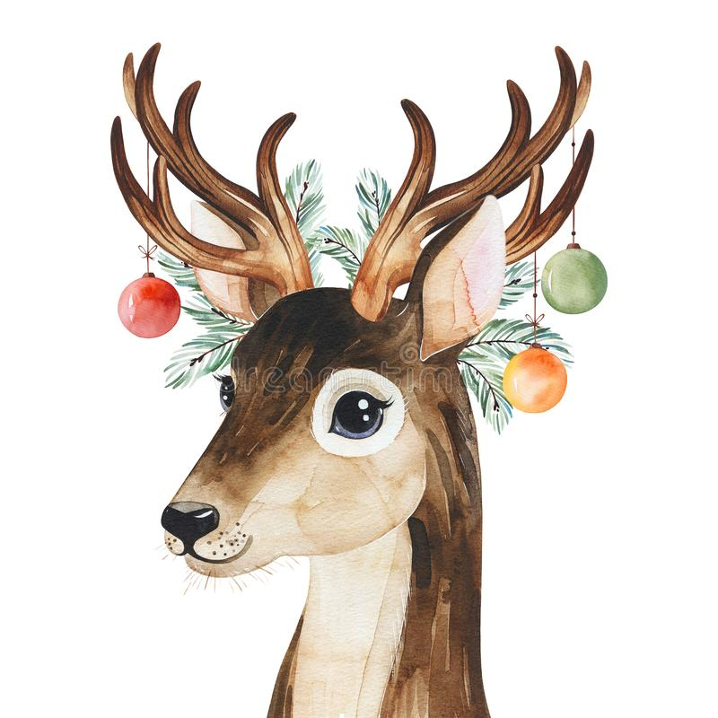 Winter composition with conifer branches,toys and cute deer.Handpainted watercolor illustration royalty free stock photos