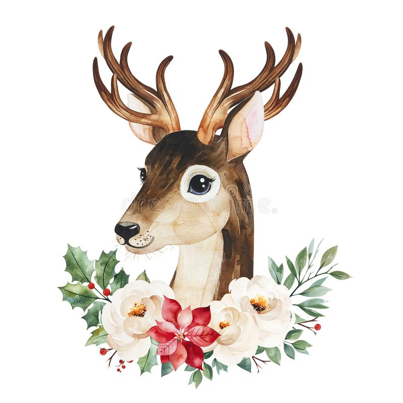 Winter composition with leaves,branches,flowers,berries,holly and cute deer. stock images