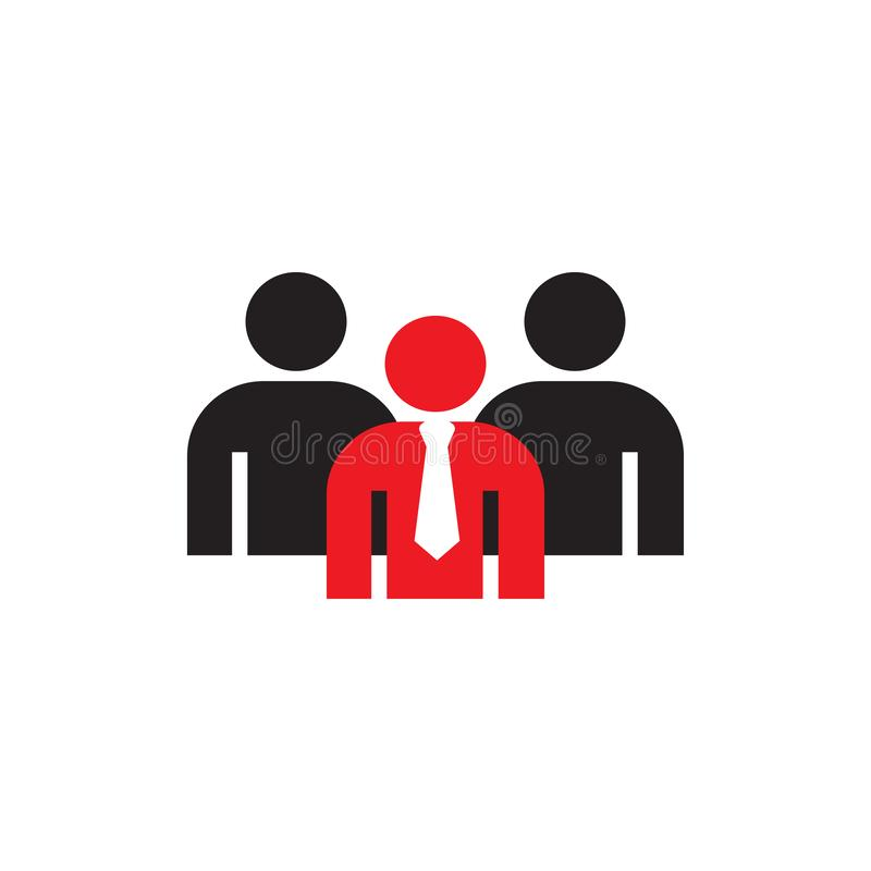 Symbol of business people in flat style with team leader. Icon for web site design, logo, app, isolated on white background. Vector illustration eps 10 vector illustration