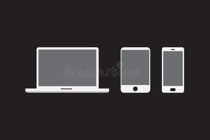 Set of devices as mockup for web design. Flat vector illustration of laptop, tablet and smartphone with different screen sizes. And ratio isolated on black vector illustration