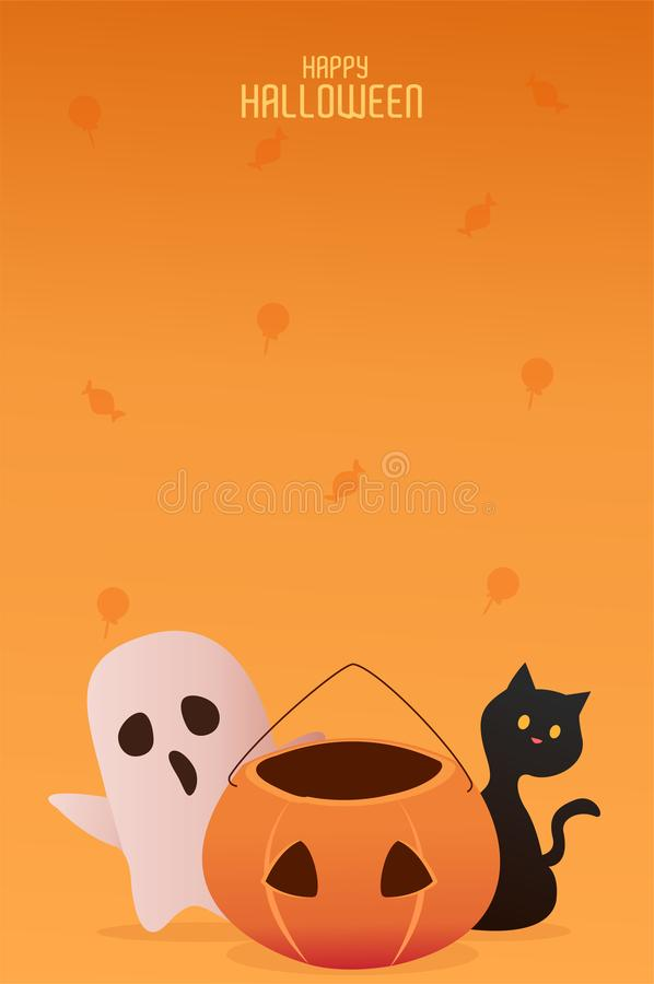 Happy Halloween cat and ghost character Background Vector stock illustration