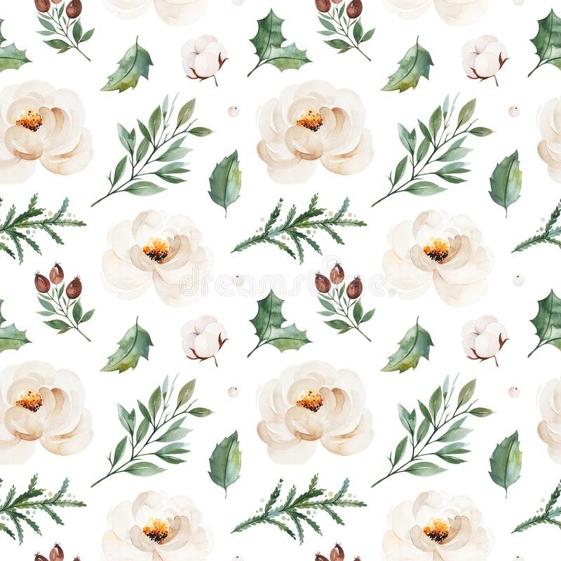 Winter seamless texture with leaves,branches,whire roses,berries,cotton flowers. royalty free stock photos