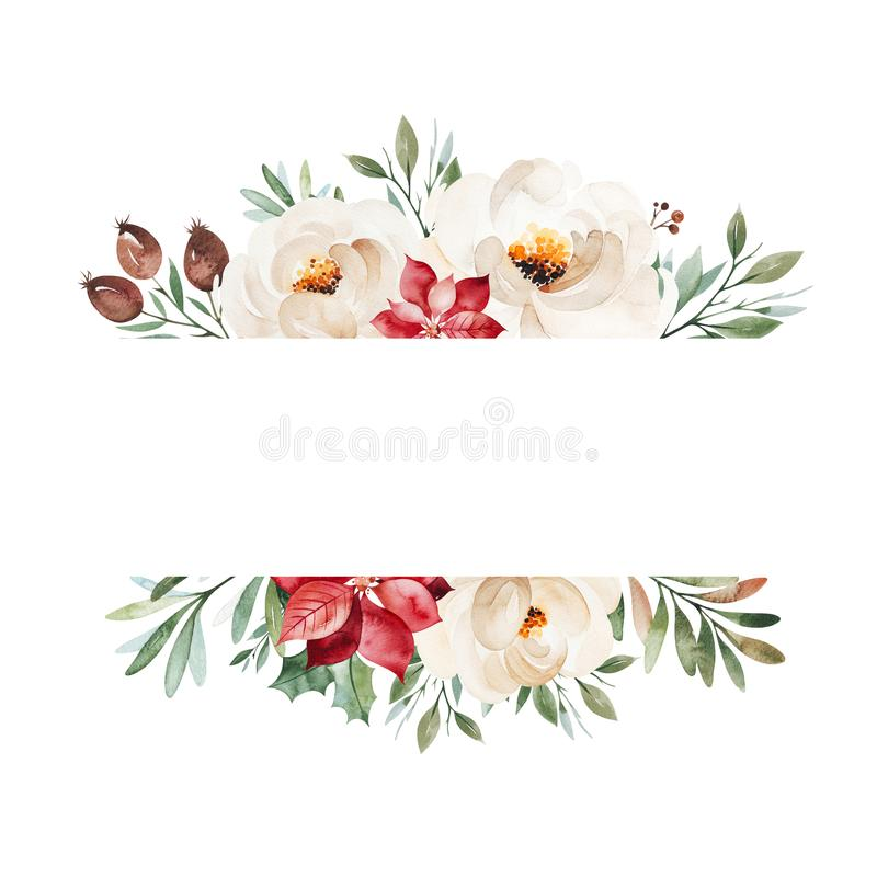 Winter frame border with leaves,branches,flowers,berries,holly,poinsettia royalty free stock images