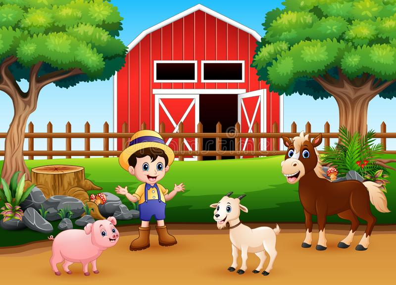 Farm scenes with different animals and farmers in the farmyard. Illustration vector illustration