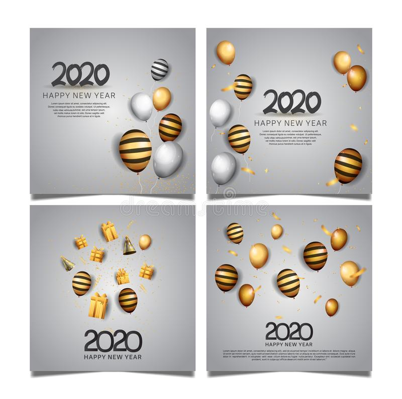 Happy new year 2020 template set with balloons and white background stock illustration