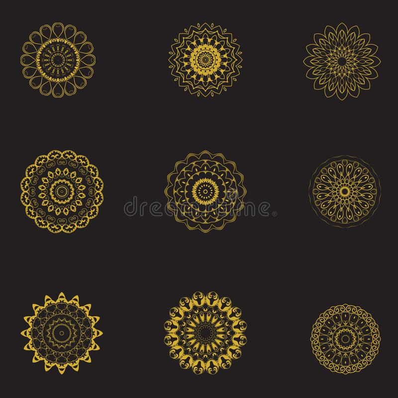 Set Of Mandala Pattern Template 01. We not only provide with one color series, namely gold, but there are other colors, and you can use the mandala as a prayer royalty free illustration