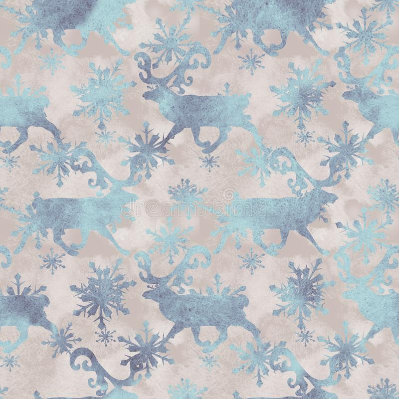Watercolor Scandinavian Christmas  seamless Pattern with deers stock illustration