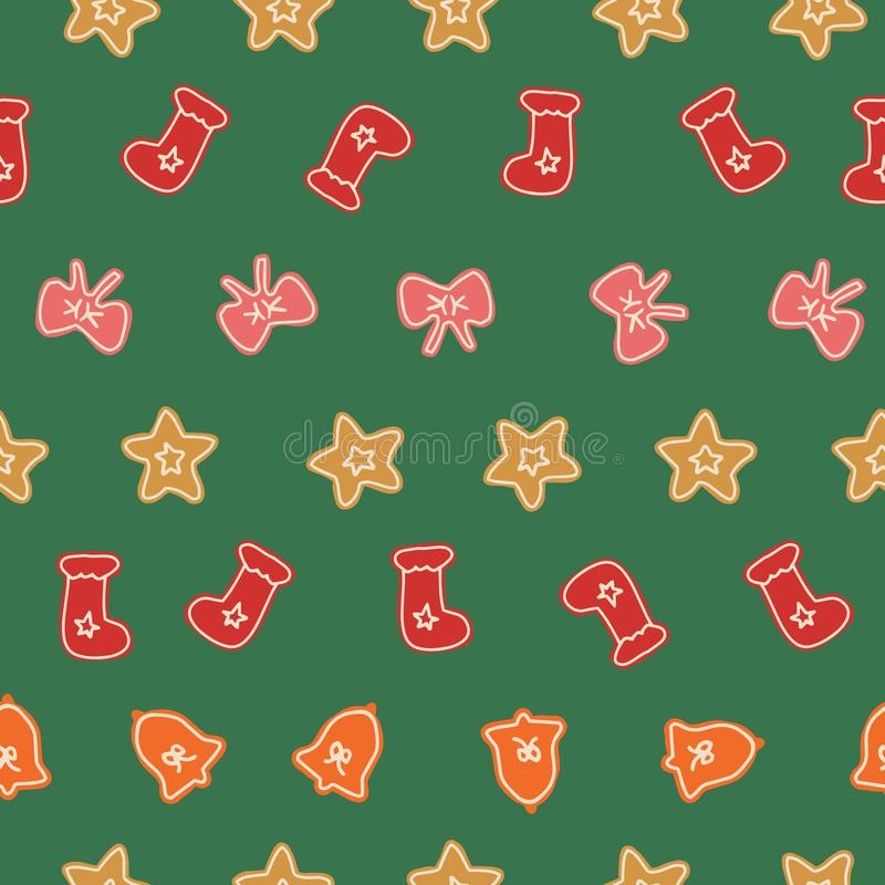 Christmas decorations seamless pattern in happy and naive style stock illustration