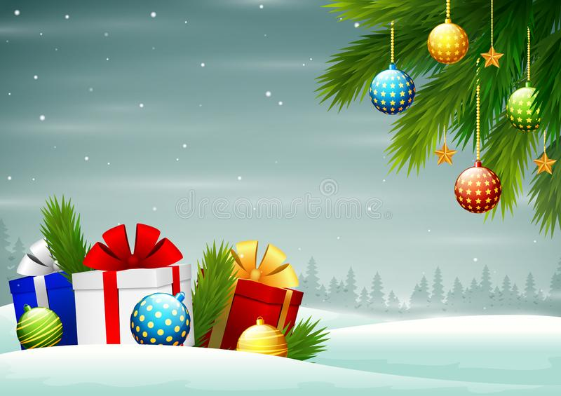 Merry Christmas background with branches of tree and gift boxes. Cartoon of Merry Christmas background with branches of tree and gift boxes royalty free illustration