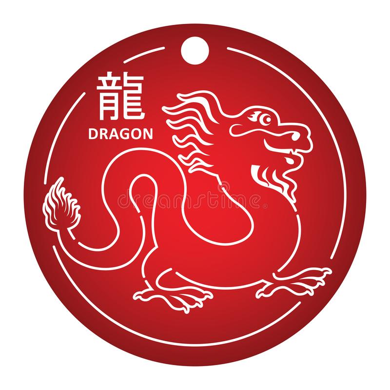 Dragon. Chinese zodiac sign. Simple vector illustration. Symbol of the year drawn in white outline on red background. vector illustration